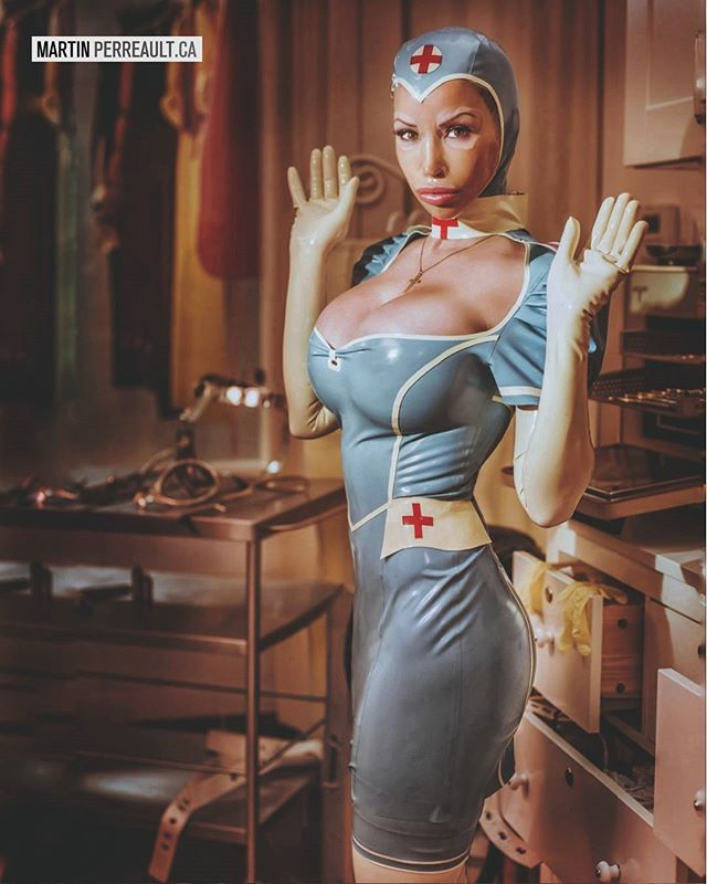 """WASN'T ME!"", claims her innocence @biancabeauchampmodel the nurse in eye candy rubber from @hw_design_latex www.martinperreault.com #martinperreault #photography #latex #fetish #nurse #cosplay #rubber #innocent #heavyrubber #gloves #medical"