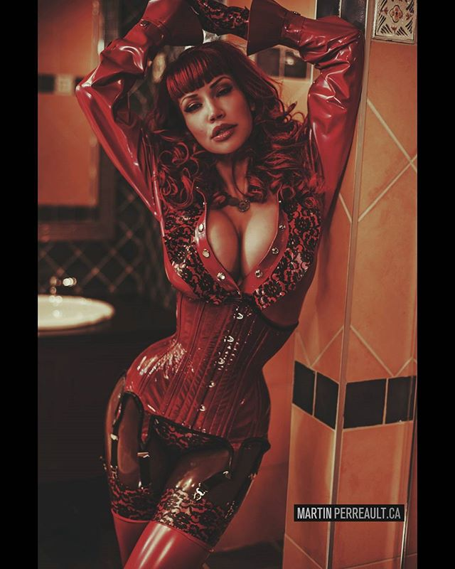 @biancabeauchampmodel in @westwardboundlatex #fashion.  www.martinperreault.com #martinperreault #photography #model #latex #red