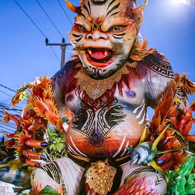Incredible statues created by the community of Bali for their New Year celebration parade.  At the stroke of midnight, they then burn the statues and enter Silent Day, a day for self reflection and prayer. The statues are work of art. #bali #silentday #asia