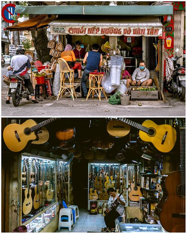 Scenes from #saigon,#vietnam.  TOP:  hybrid between #streetfood and small restaurant.  BOTTOM: Duy Ngnoc the Luthier on #guitarstreet  where I bought myself a guitar to accompany me on this #roadtrip