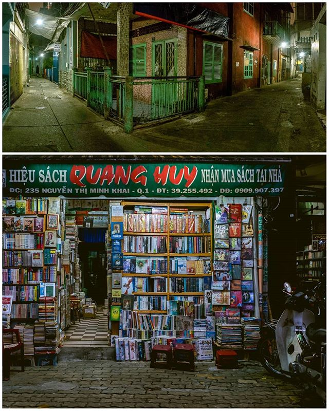 Night scenes from #saigon.  TOP:  The very narrow back alleys are incredibly atmospheric, hot, and humid - and very deserted.  Those are the homes of many of the huge city's population.  BOTTOM:  This book store attracted my eye for its endless colors and textures, a common theme in Vietnam.#vietnam #backpacking
