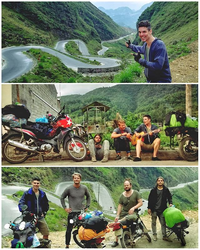 Teaming up with buddies for an epic motorbike #roadtrip at the #hagiangloop in #vietnam!Top: one of the endless winding roads that are so exilerating to ride on!Middle: guitar time while one of the bikes gets fixed at the mechanic.Bottom: group shot (2 are missing)Thank you Valeska for documenting the trip in photos!